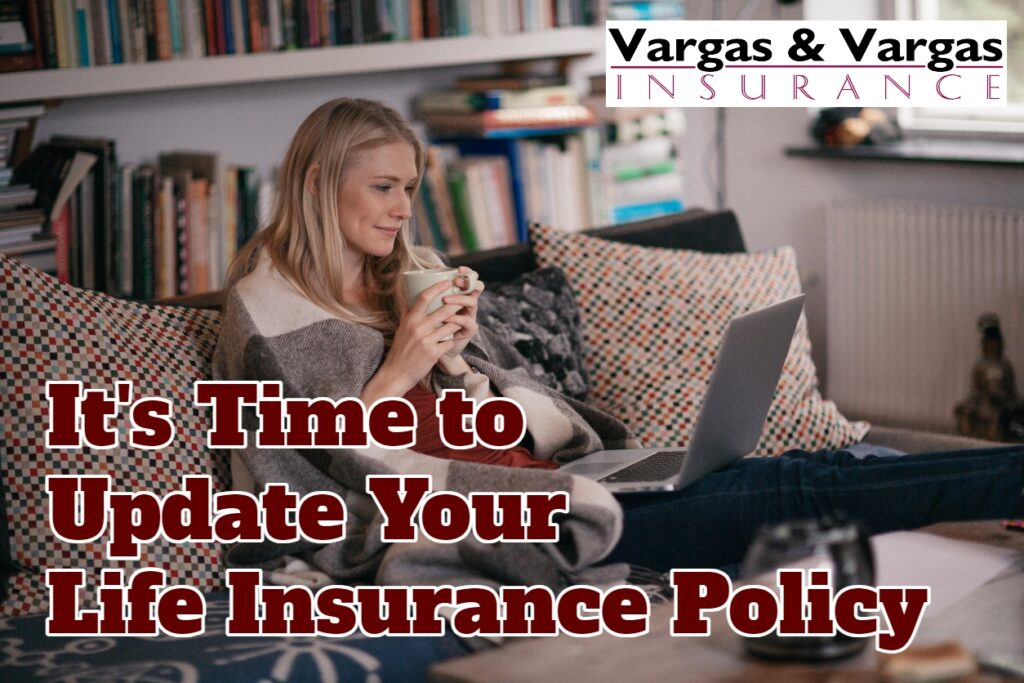 woman at home updating her life insurance policy during the fall