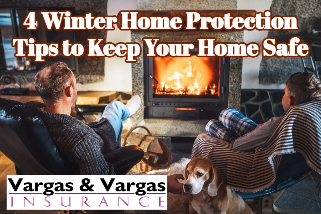 father and son sitting in front of a fire during winter after following this winter home protection tips